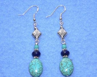 Carolina Sundance  Turquoise Lapis Earrings  Handmade Artisan
