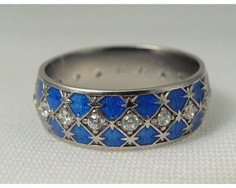 Silver band with CZs and blue enamel