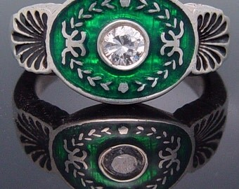 Sterling silver ring with green enamel and CZ