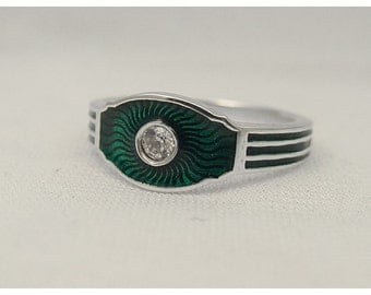 Silver ring with green enamel and 5mm CZ