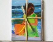 little beach girl art post cards - Set of 6 - Sophie's Seashell