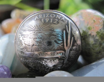 Domed Arizona State Quarter Ring with Sterling Silver Band MADE TO ORDER.