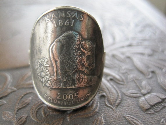 Wraparound Kansas State Quarter Ring with Sterling Silver Band MADE TO ORDER.