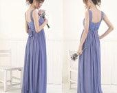 Silk Chiffon Empire Waist Dress - Wide Strap / Floor Length Version