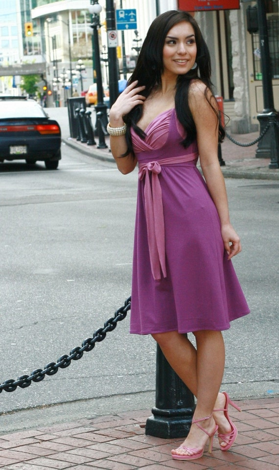 SAMPLE SALE - Berry Bamboo Gathered Bust Dress (SIZE S)