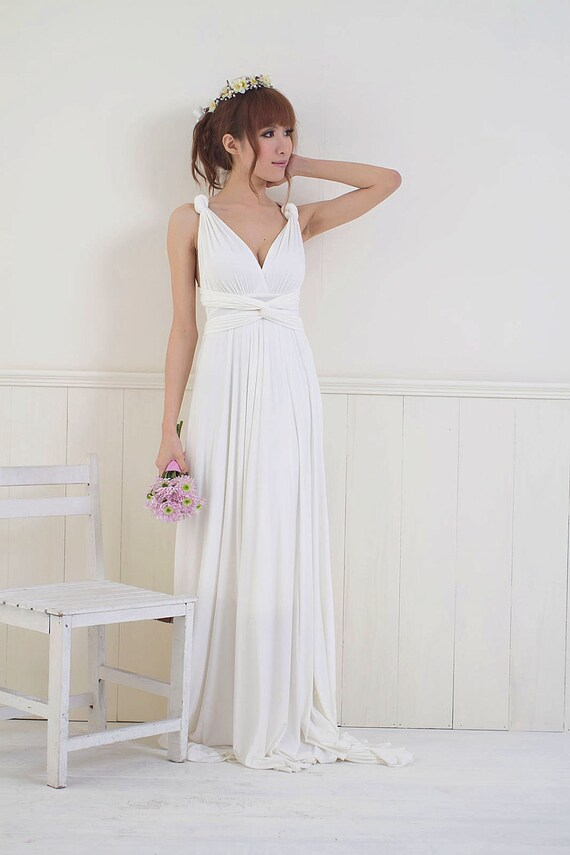 White or Ivory Convertible/Infinity Dress - Floor Length