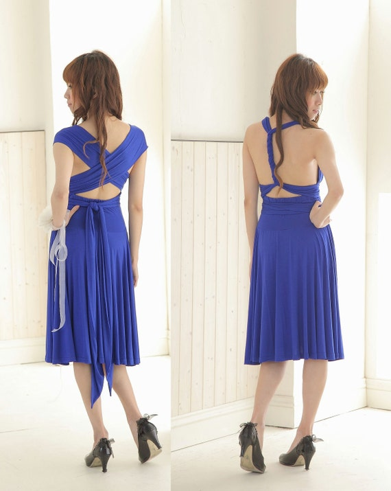 Reserved for Jessica's Bridesmaid 2 - Knee Length Convertible/Infinity Dress in Blue