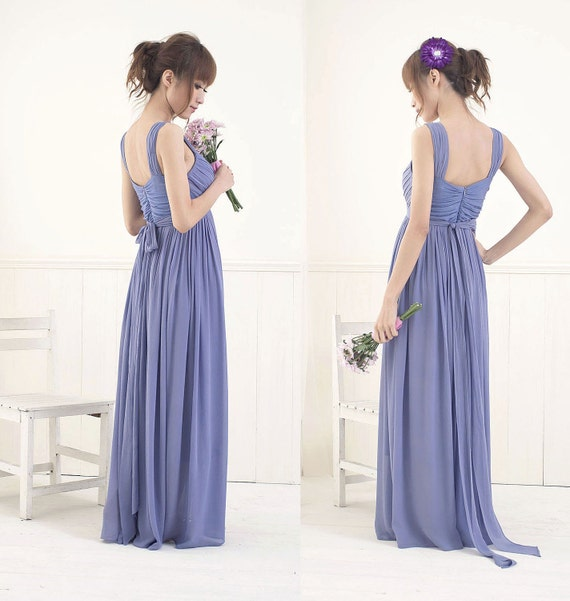 Chiffon Empire Waist Dress - Wide Strap / Floor Length Version