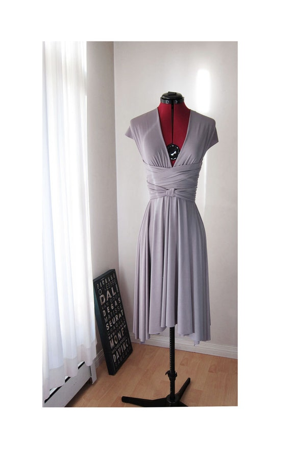 Reserved for Irene's Bridesmaid 2 - Knee Length Convertible Dress in Glossy Apple Green