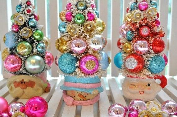 Bottle Brush Tree Snowman Pink & Aqua Christmas Dream Sweet Sugared Bells glass ornaments garland Chic bottlebrush