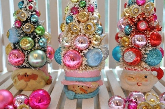 Snowman Bottle Brush Tree Aqua& Pink Christmas Dream Sweet Sugared Bells glass ornaments garland Chic bottlebrush