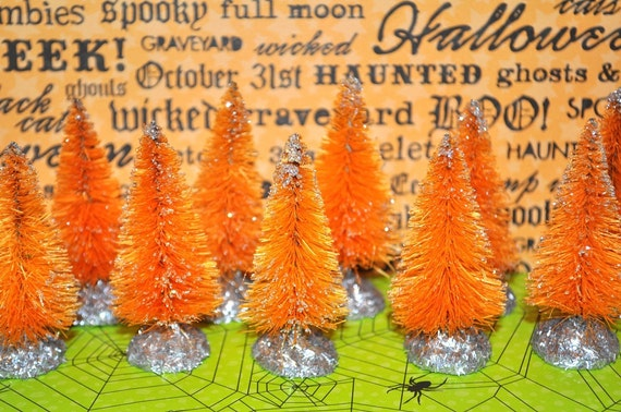 12 Orange Bottle Brush trees Hand-dyed & Sugared Spooky Vintage style Halloween flocked bottlebrush lot Instant Collection tinsel
