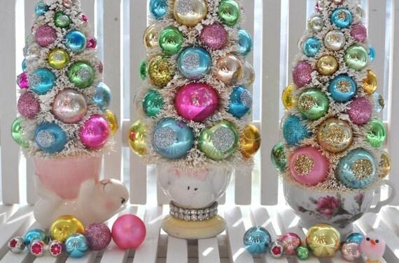 Bottle Brush Tree Tall Christmas Easter Bunny Pink vintage glass ornaments chic parade mica flocking glitter shabby egg cup bottlebrush