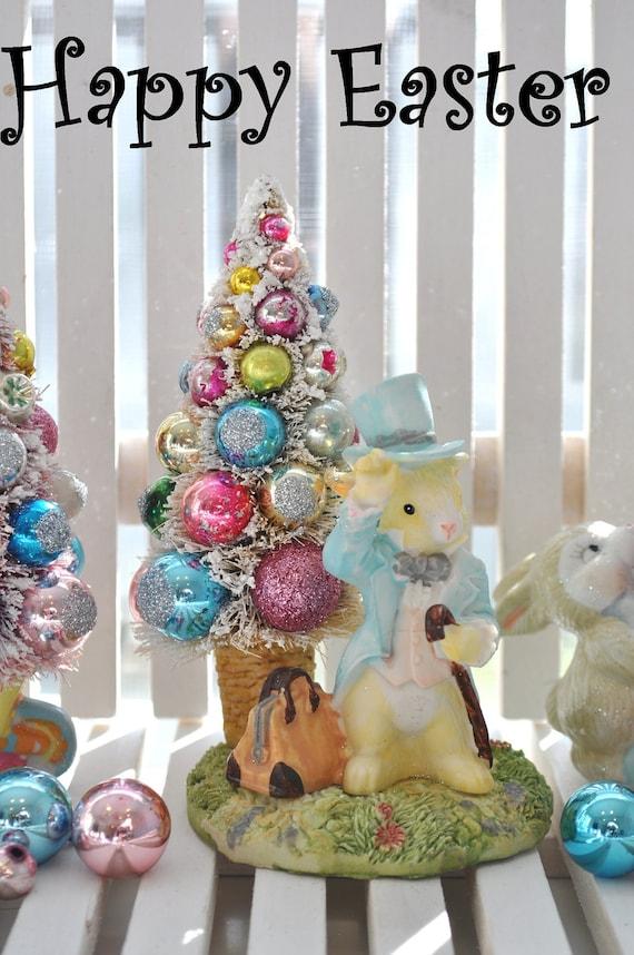 Bottle Brush Tree boy bunny Easter Pink & Aqua vintage glass ornaments chic parade mica flocking glitter shabby bottlebrush