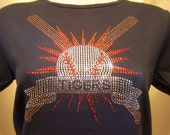 Discontinued/sale Tigers Little League and High School  Baseball Mascot  Rhinestone Heat Transfer-DIY