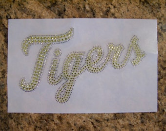 Tigers Mascot Yellow Rhinestone Heat Transfer-DIY