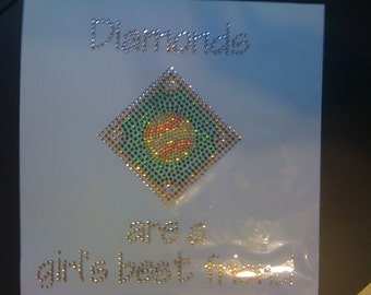 Discontinued/sale Softball Diamonds are a Girls Best Friend Rhinestone Heat Transfer DIY