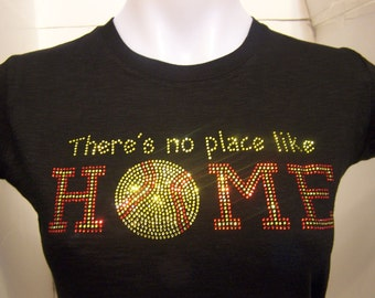 Softball No PLace Like Home Rhinestone Heat Transfer-DIY