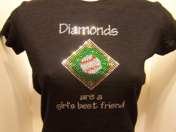Discontinued/sale Baseball Diamonds are a Girls Best Friend Rhinestone Heat Transfer DIY