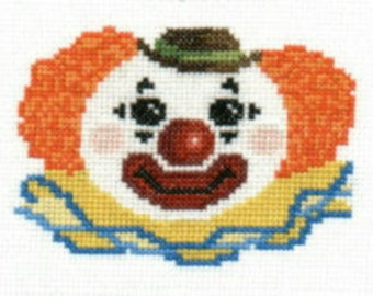 Happy Clown counted cross-stitch chart