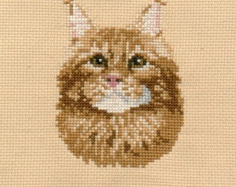 Red-White Cat counted cross-stitch chart