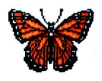 Monarch Butterfly counted cross-stitch chart