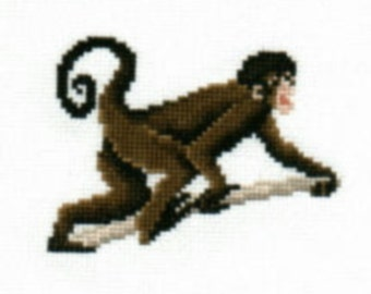 Black Spider Monkey counted cross-stitch chart
