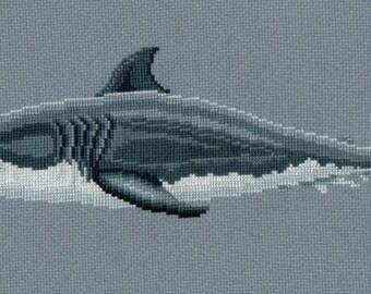 Great White Shark counted cross-stitch chart
