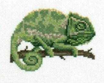 Chameleon counted cross-stitch chart