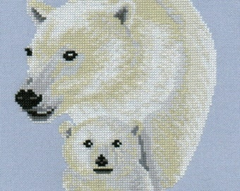 Mother and Baby Polar Bear Cross Stitch Chart