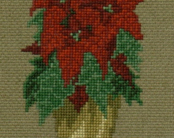 Poinsettia counted cross-stitch chart