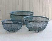 Cyan Blue Wire Mesh Graduated Bowls  - Set of 3