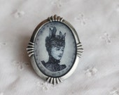 Victorian Brooch Cameo - Vintage Inspired Brooch from Original Painting
