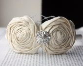 Winter Holiday Party Ivory Cream Rosette Headband Duo with Silver French Netting and Vintage Jeweled Accent