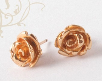 Rose Earrings, Flower Earrings, Rose Stud Earrings, Rose Jewelry, Floral Earrings, Dainty Earrings, Romantic Earrings, Flower Studs, Bride