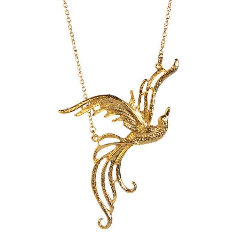 Phoenix Necklace 24k Gold Plated Phoenix Bird On A By Meydalle