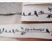 Sewing Fabric Tape/Ribbon - bird and leaves ( Cotton )
