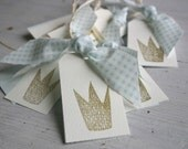 Hand Stamped Gift Tags - Golden Crown