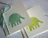 Set of Two Folded Elephant Cards - Celadon and Moss Green