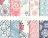 """Doodle Flower Digital Scrapbook Paper Pack (8.5x11""""-300 dpi) -- Instant Download -- 10 Digital papers -- 354"""