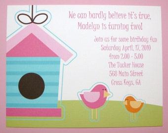 Little Birdie Birthday Party Invitations - 1 2 3 4 5 6