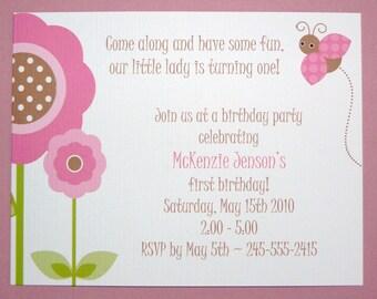 Little Lady Ladybug Birthday - First 1 2 3 4 5 6 - Baby Girl Shower Invitation