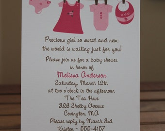 Baby Girl Clothesline Baby Shower Invitations