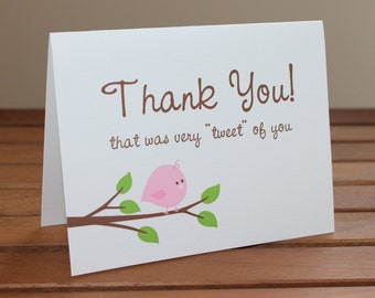 Little Birdie Thank You Cards  - Additional Colors Available