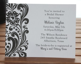Black and White Floral Scroll Personalized Bridal Shower Invitations