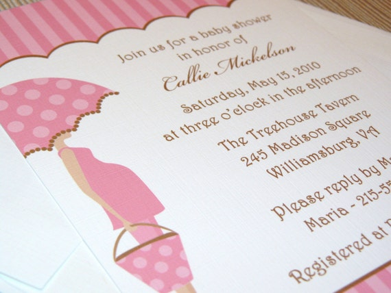 Pink and Brown - Mod Mom - Baby Girl Shower Invitations