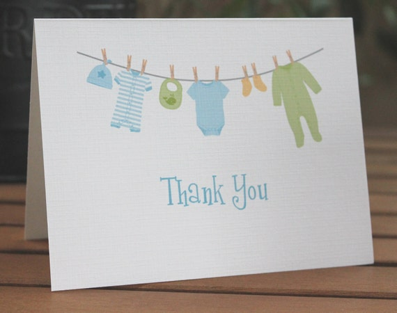 Baby Boy Clothesline Thank You Cards - Set of 15