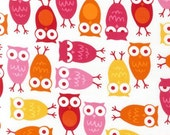 Robert Kaufman Fabric, Owls in Pink by Ann Kelle, Urban Zoologie, 1 Yard