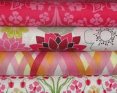 Michael Miller Fabric, Sanctuary by Patty Young, Pink and Orange, Full Yard Bundle, 4 Yards Total
