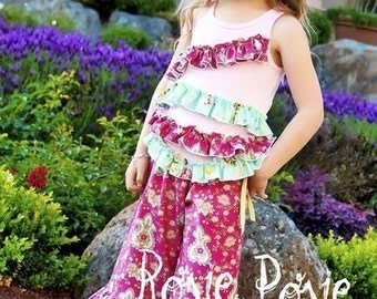 SALE, Pink Fig Patterns, Rosie Posie Ruffle Pants and Top, Sizes 12 month to 10 years, Pattern Ships Free with another purchase